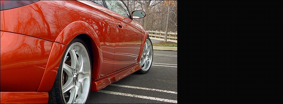 Close up view of a red sports car