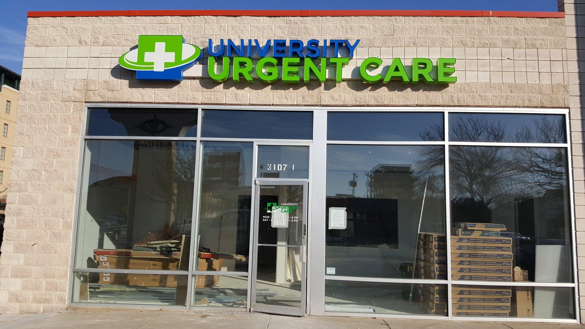 University urgent care sign