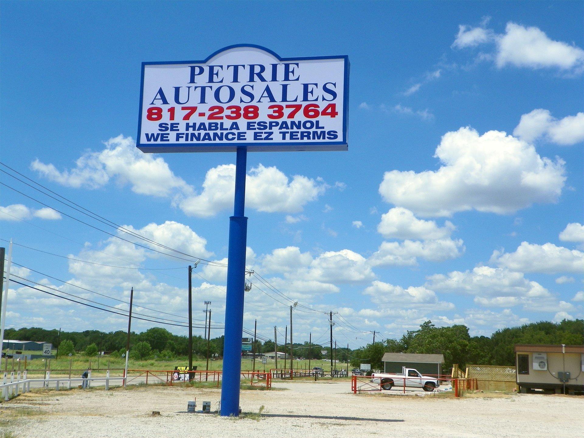 PEtrie Autosale Sign