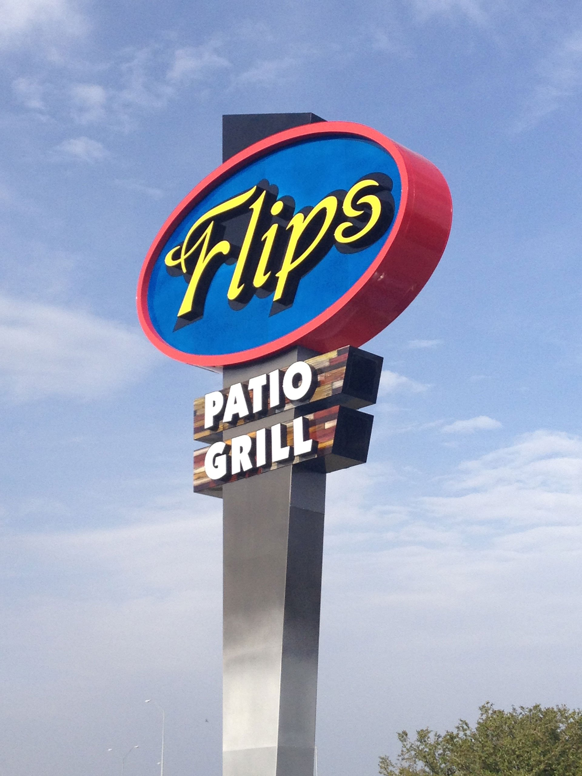 Flips Patio Grill Pole Sign