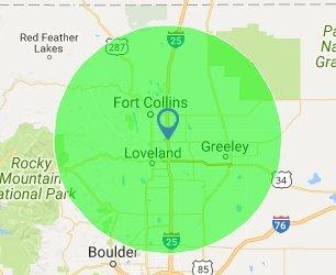 Colorado Vista Landscape Design Service Area Map