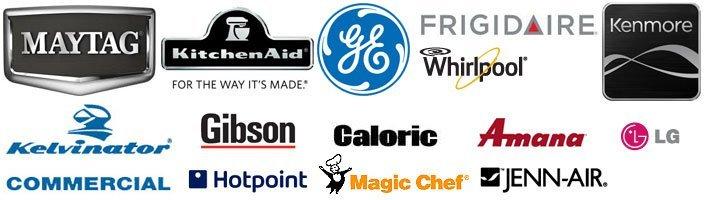 MAYTAG, KitchenAid, GE, Frigidaire, Whirlpool, Kenmore, Gibson, Kelvinator, Hotpoint, Caloric, Magic Chef, Amana, Jenn-Air, LG
