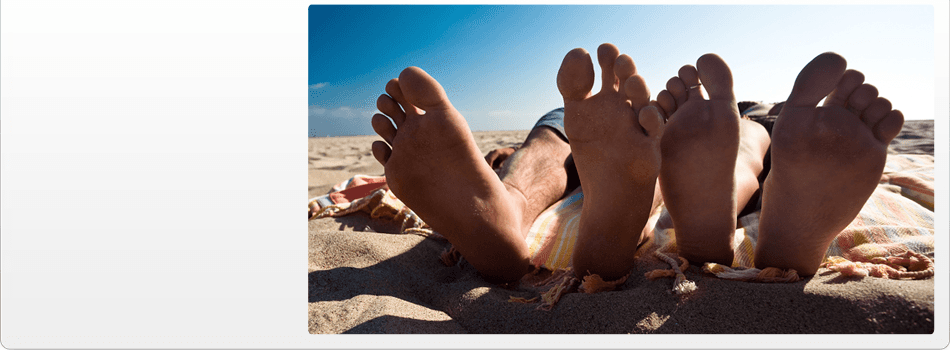 Three pair of feet