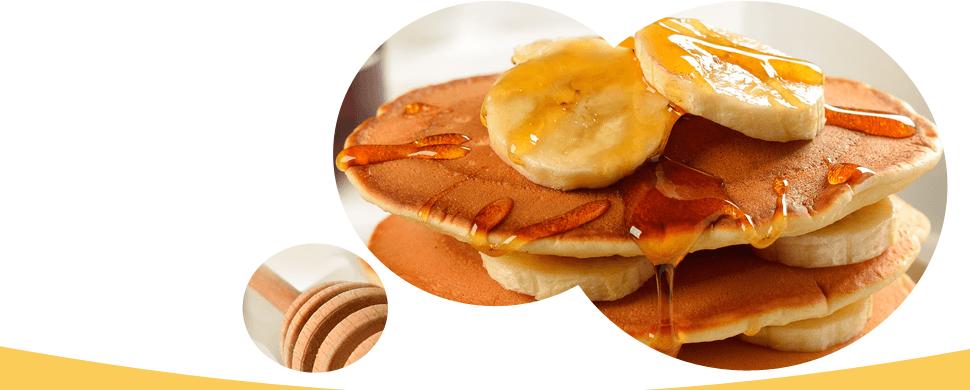 Pancake with honey and banana