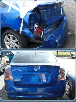 Damaged car bumper
