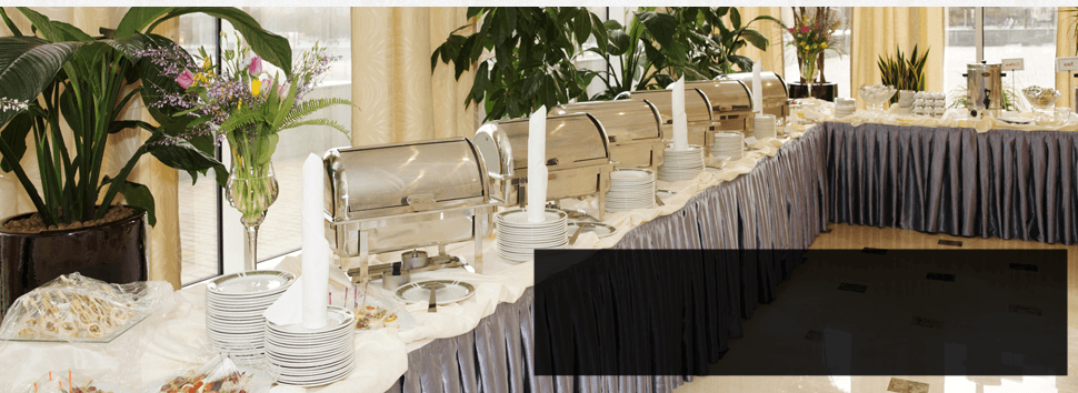 A catering service with food warmer
