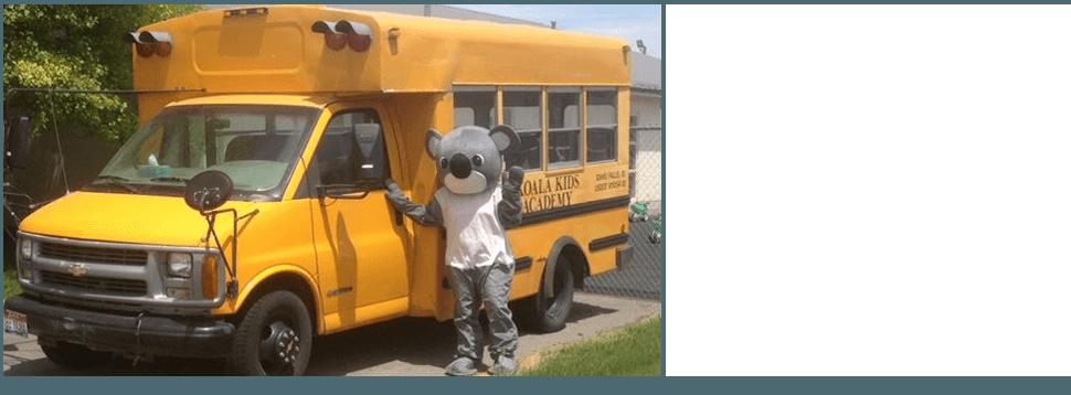 Koala beside the School Bus