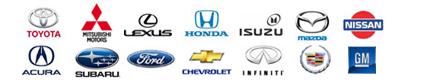 Toyota, Mitsubishi, Lexus, Honda, Isuzu, Mazda, Nissan, Acura, Subaru, Ford, Chevrolet, Infiniti, GM