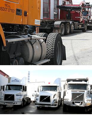 Side view of trucks, 3 white trucks