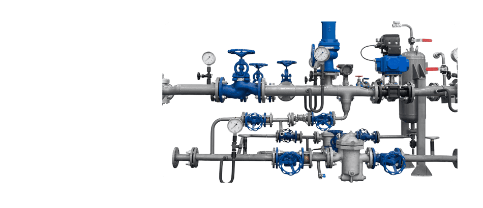 Pipes, valves and meter