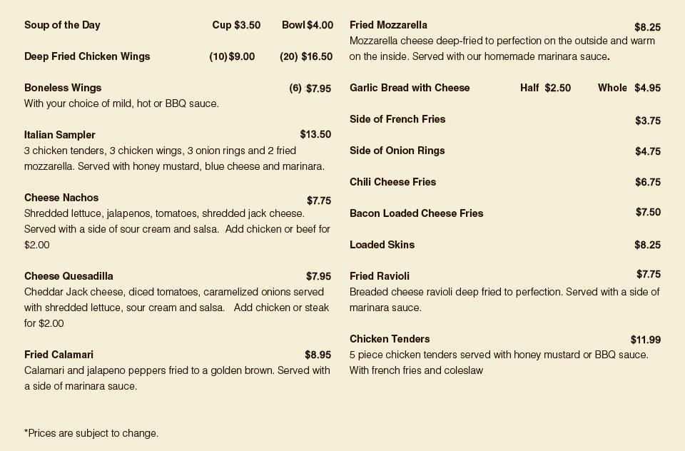 Appetizer Menu | South Windsor, CT | South Windsor Pizza & Restaurant | 860-289-1800