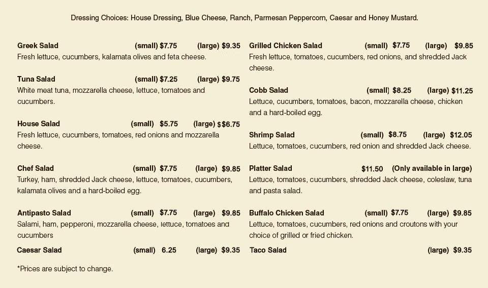 Salad Menu   South Windsor, CT   South Windsor Pizza & Restaurant   860-289-1800