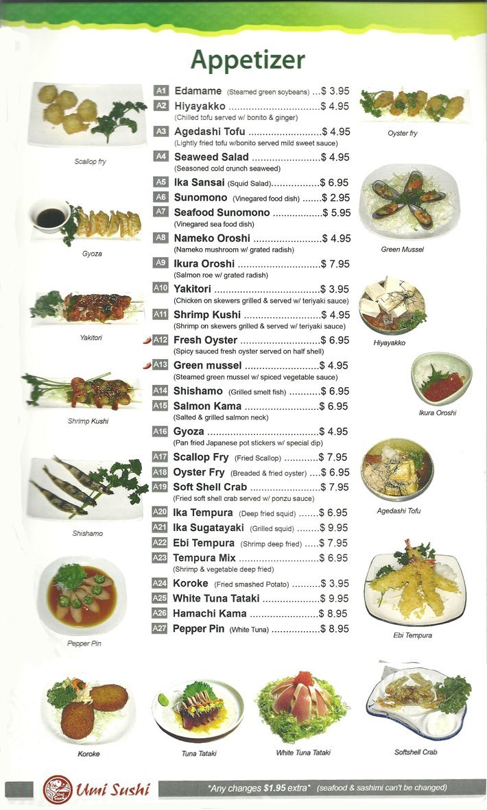 Appetizers | Modesto, CA | Umi Sushi | 209-622-0806