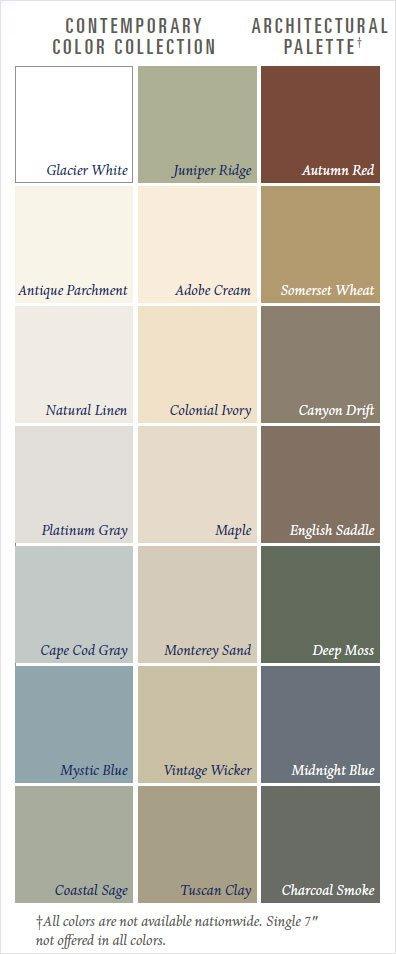 vinyl siding color palette