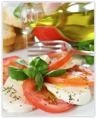 Salad with tomato and olive oil
