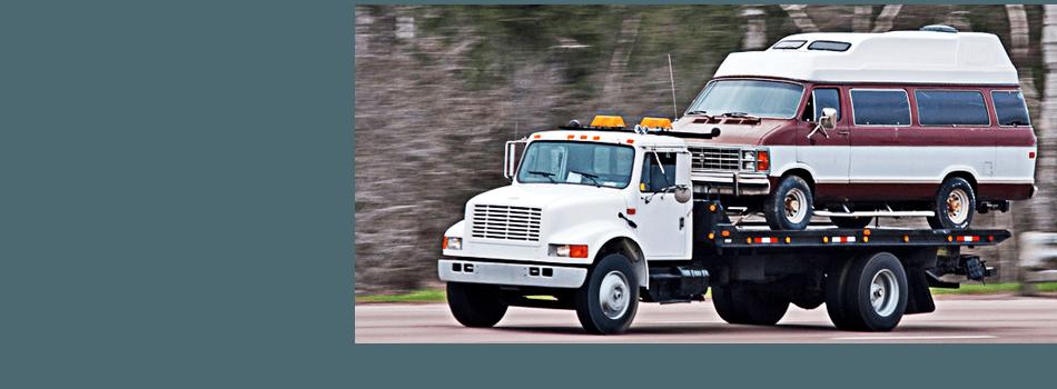 Truck transporting van