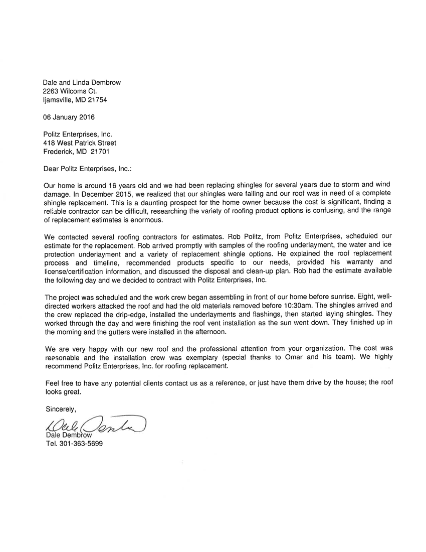 Dale Dembrow Letter