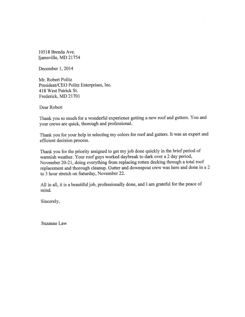 Suzanne Law Letter