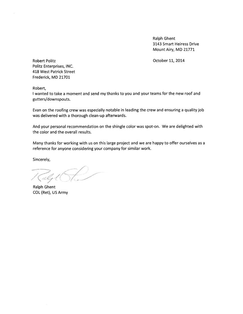 Ralph Ghent Letter