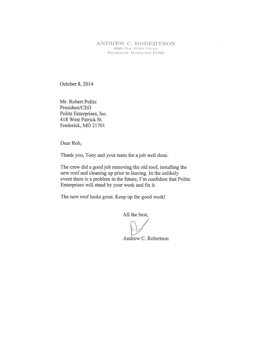 Andrew C. Robertson Letter
