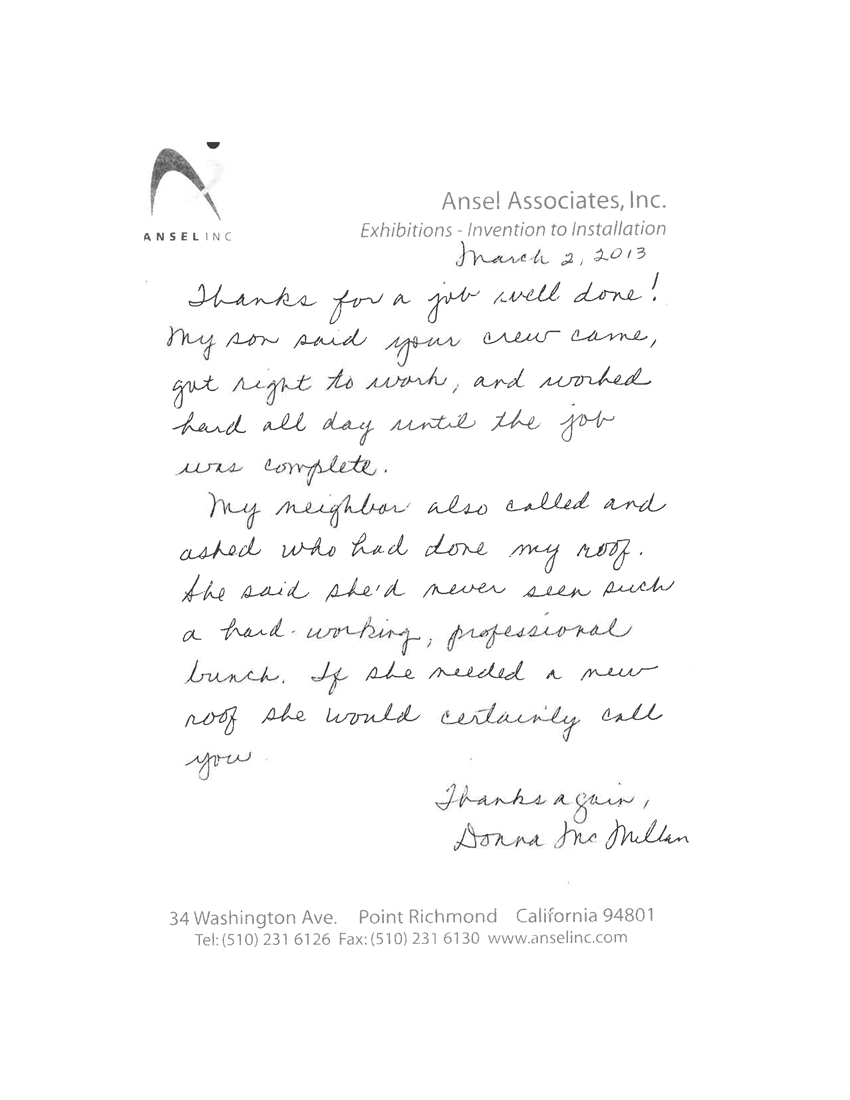 Ansel Associates, Inc. Letter
