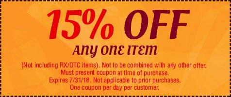 15% Off Any One Item   Roseburg, OR   Harvard Ave Drugs & Gift   541-672-1961