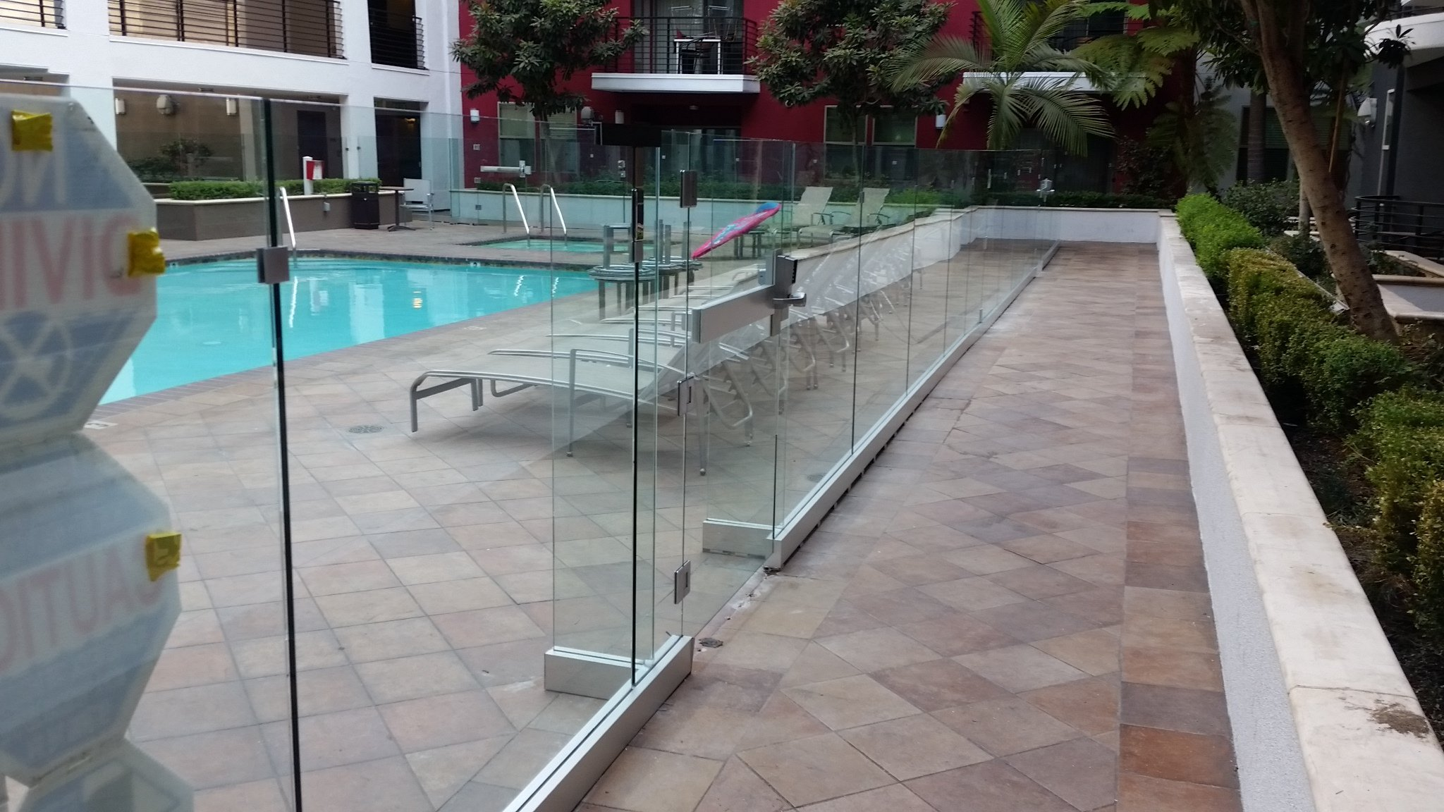 Pool Side Glass Railing