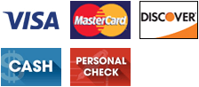 Visa, MasterCard, Discover, Cash and Personal Check