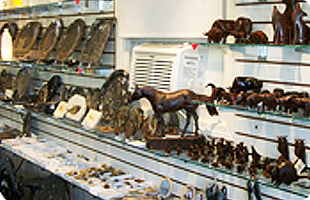 Animal carvings on shelf