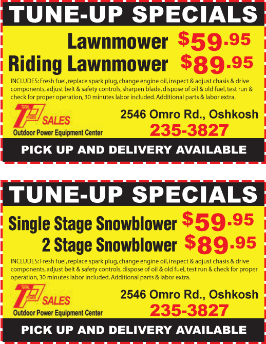 Spring and Summer / Fall and Winter coupons   Oshkosh, WI   T-P Sales   920-235-3827