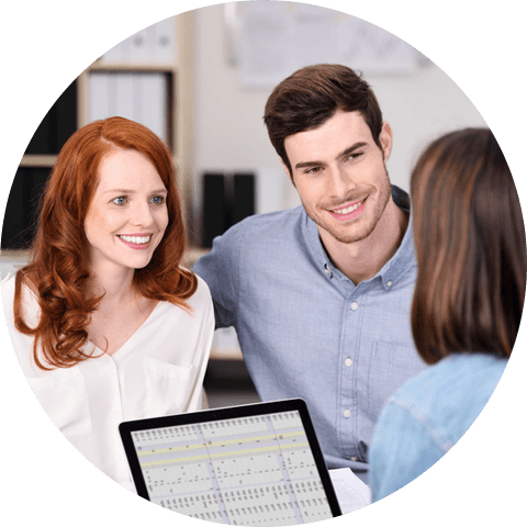 insurance agent talking with client