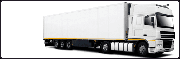 A big tractor trailer truck isolated on white