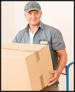 Messenger mature male courier delivering parcel boxes