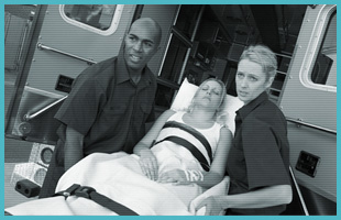 Woman being on a stretcher