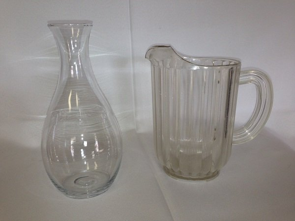 Water Pitcher and Glass Wine Carafe
