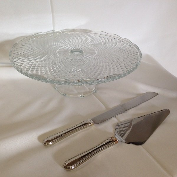 Crystal Cake Pedistal and Cake Server Set