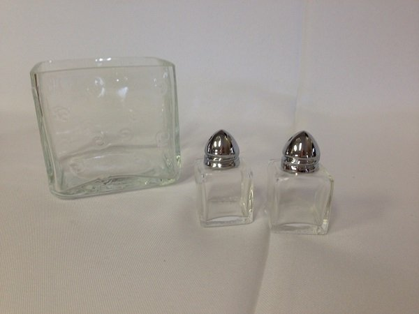Salt and Pepper Shakers  and Glass Condiment Holder