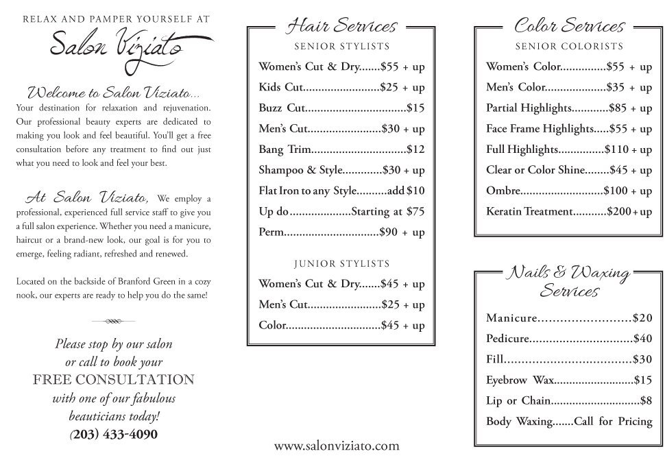 Brochure | Branford, CT | Salon Viziato | 203-433-4090