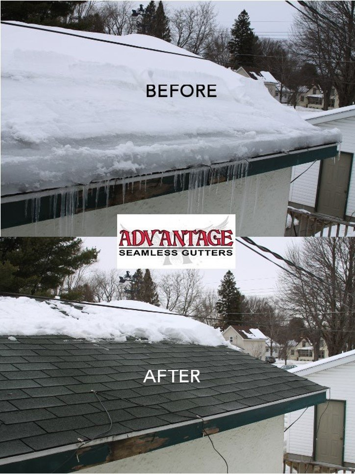 Before and after ice dam removal