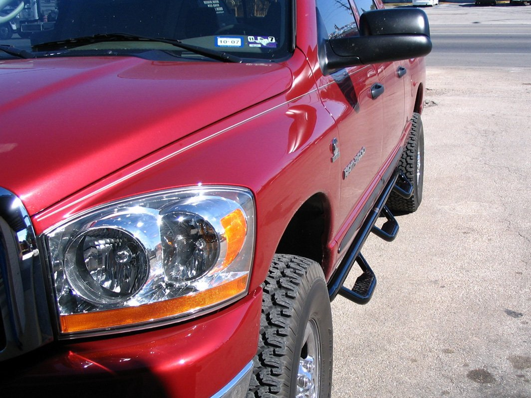 Red truck with running board