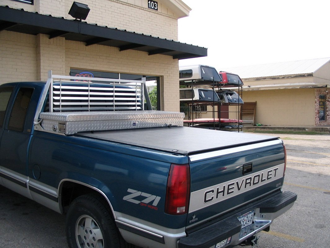 Blue truck with tonneau covers