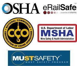 OSHA logo, CCO logo, Erailsafe logo, MSHA logo, MustSafety logo