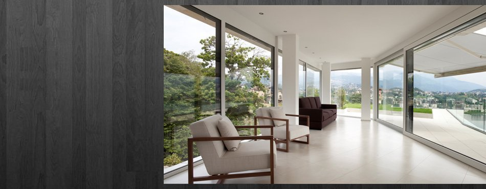 a room with glass windows