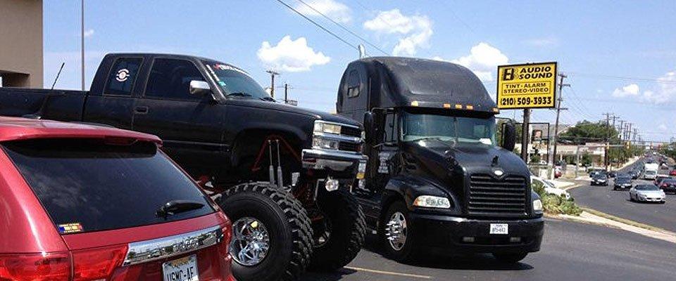 Trucks and Car