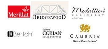Merillat, Bridgewood, Medallion, Bertch, DuPont Corian, Cambria