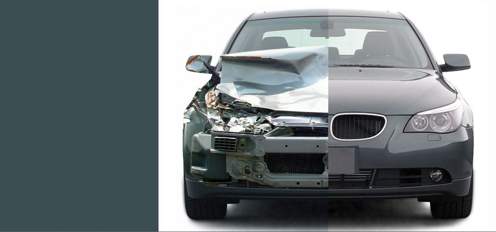 A before and after auto collision repair