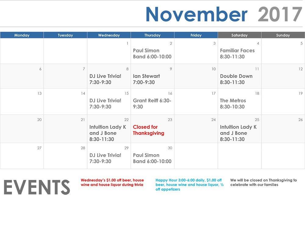 November 2017 Events Calendar