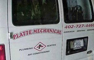 Rear view of Platte Mechanical Inc. van