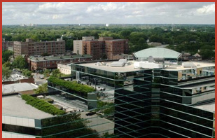 Commercial buildings with flat roof