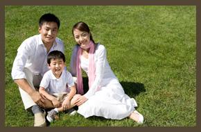Family on a garden